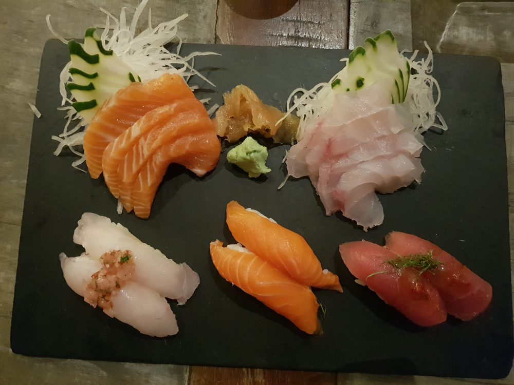 Nikkei Salmon & Snapper Sashimi & Negiri Sushi Platter