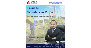 BRITCHAM_ Business Breakfast_ CEO Series_ Farm to Boardroom Table – Lessons from a Self-Made CEO Aug 15 2018 Banner