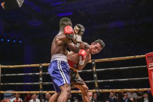 "Filipino IBO World Champ Michael ""Gloves on Fire"" Dasmarinas in action, as he faced his opponent, Ghana's Manyo ""Black Flash"" Plange, at Marina Bay Sands, Saturday night."